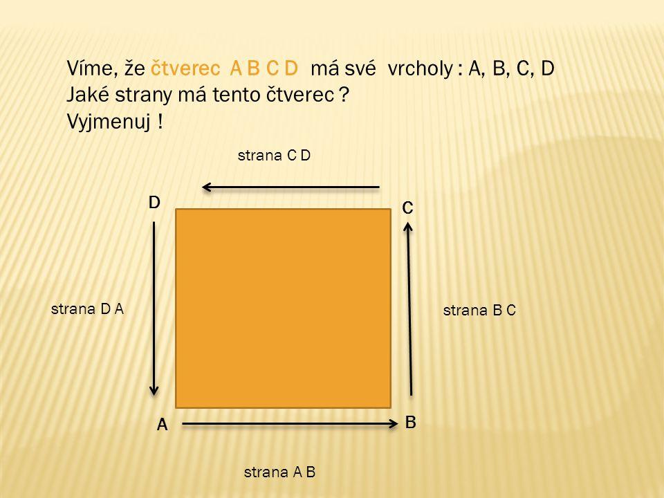 Víme, že čtverec A B C D má své vrcholy : A, B, C, D