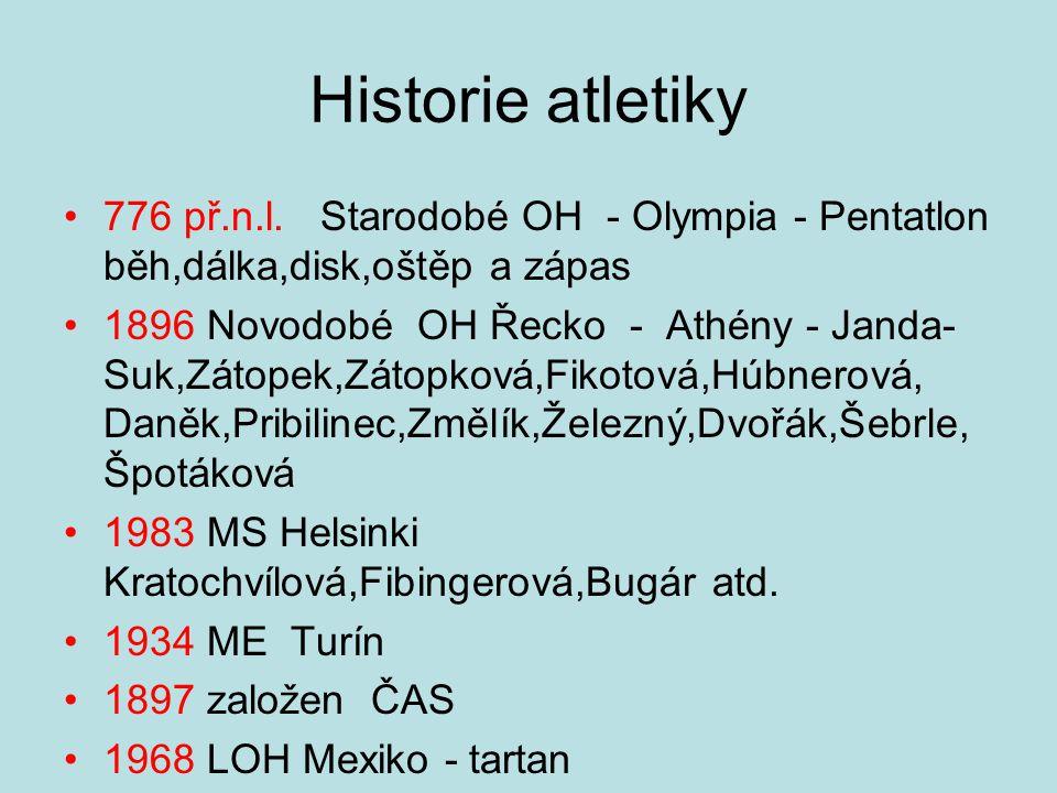 Historie atletiky 776 př.n.l. Starodobé OH - Olympia - Pentatlon běh,dálka,disk,oštěp a zápas.