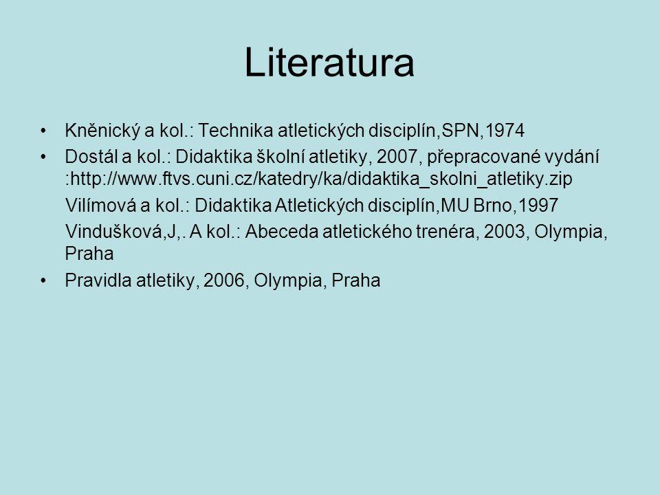 Literatura Kněnický a kol.: Technika atletických disciplín,SPN,1974