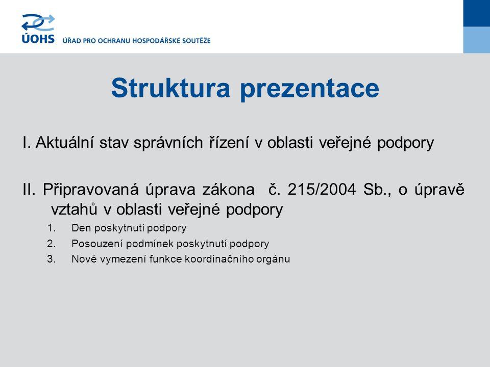 Struktura prezentace I. Aktuální stav správních řízení v oblasti veřejné podpory.