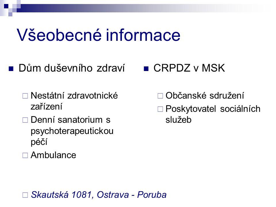Všeobecné informace Dům duševního zdraví CRPDZ v MSK