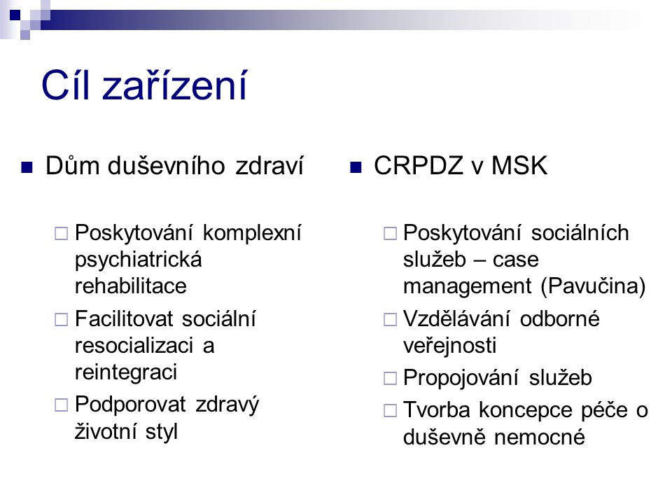 Cíl zařízení Dům duševního zdraví CRPDZ v MSK