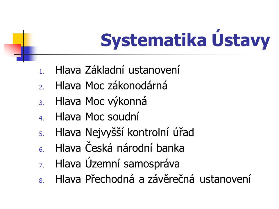 Systematika Ústavy Hlava Základní ustanovení Hlava Moc zákonodárná