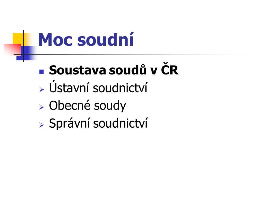 Moc soudní Soustava soudů v ČR Ústavní soudnictví Obecné soudy