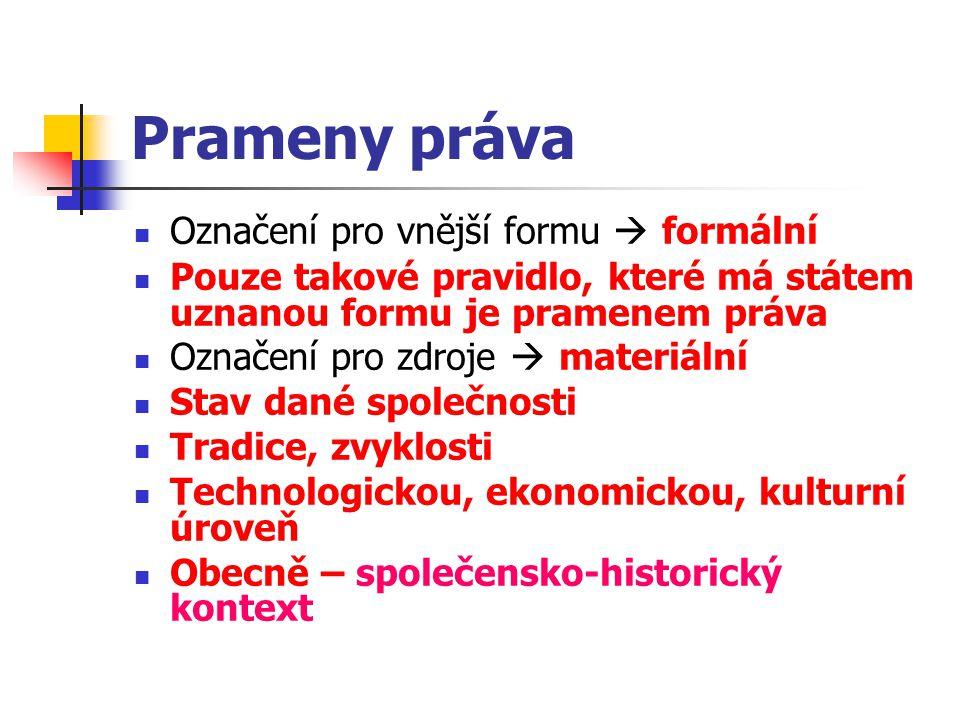 Prameny práva Označení pro vnější formu  formální