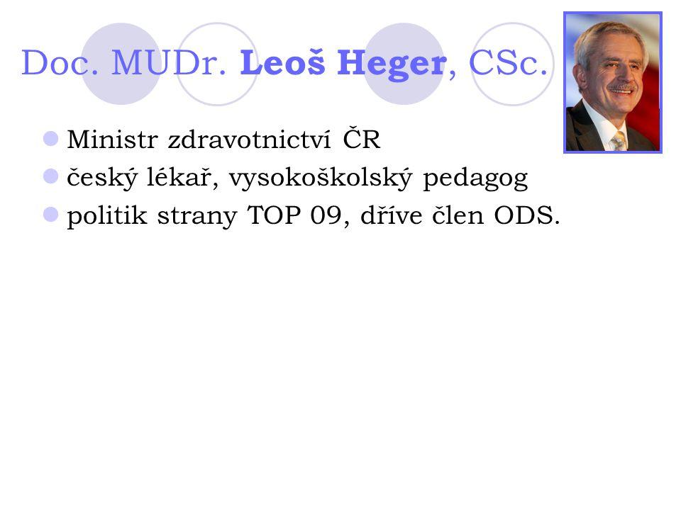 Doc. MUDr. Leoš Heger, CSc. Ministr zdravotnictví ČR