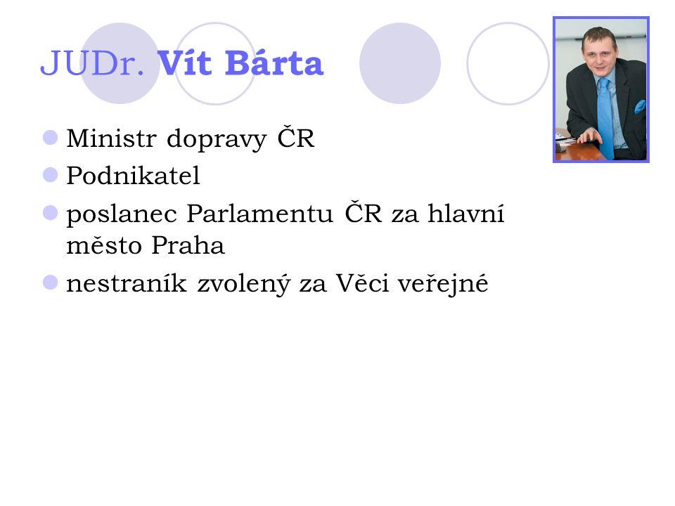 JUDr. Vít Bárta Ministr dopravy ČR Podnikatel