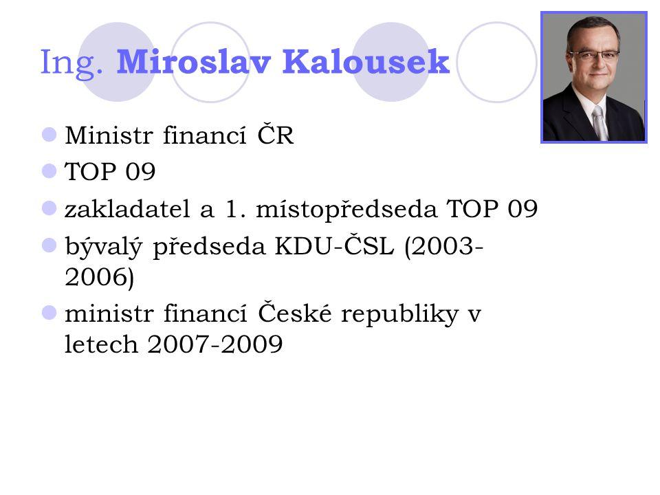 Ing. Miroslav Kalousek Ministr financí ČR TOP 09