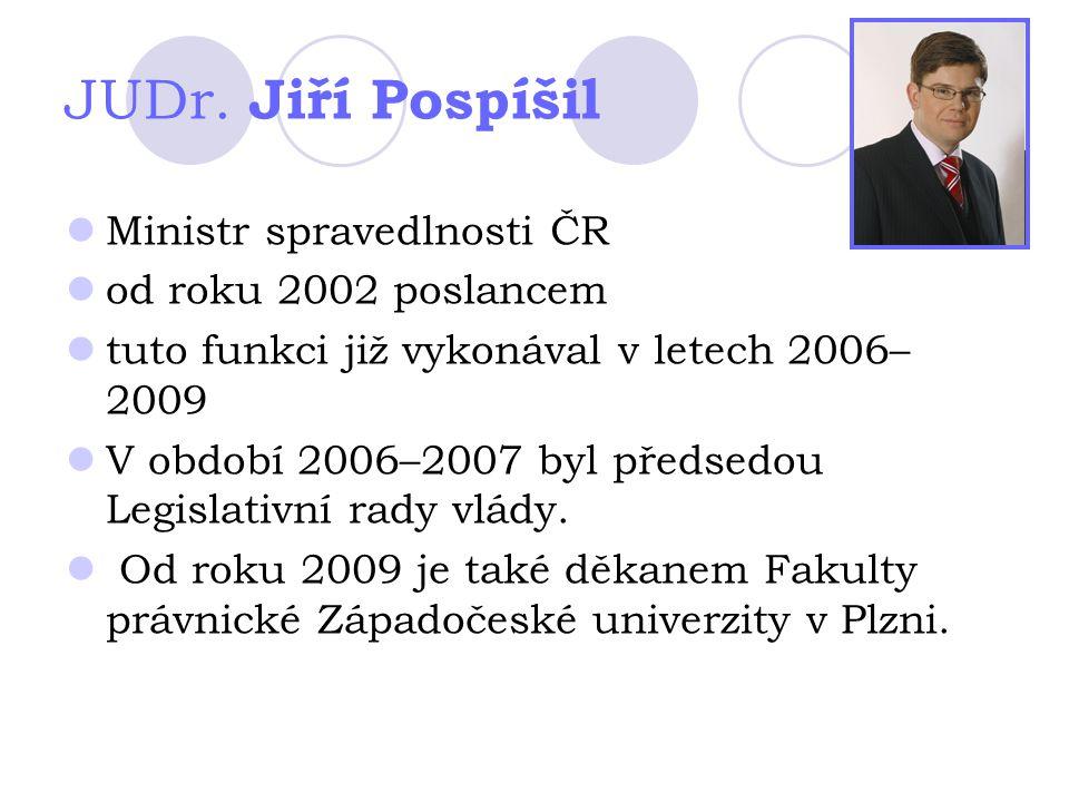 JUDr. Jiří Pospíšil Ministr spravedlnosti ČR od roku 2002 poslancem