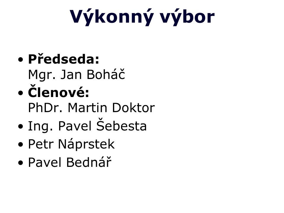 Výkonný výbor Předseda: Mgr. Jan Boháč Členové: PhDr. Martin Doktor
