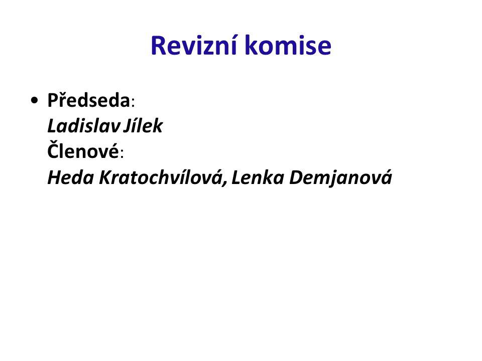 Revizní komise Předseda: Ladislav Jílek Členové: Heda Kratochvílová, Lenka Demjanová