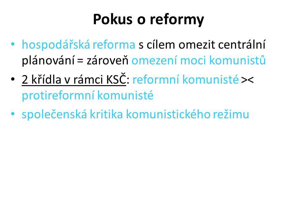 Pokus o reformy hospodářská reforma s cílem omezit centrální plánování = zároveň omezení moci komunistů.