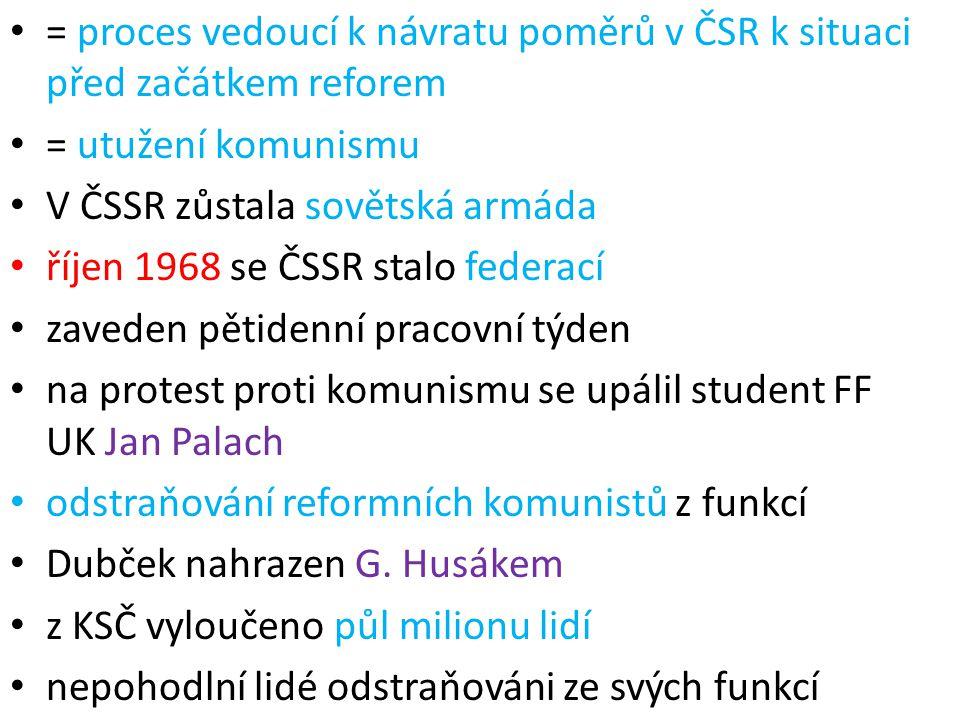 = proces vedoucí k návratu poměrů v ČSR k situaci před začátkem reforem