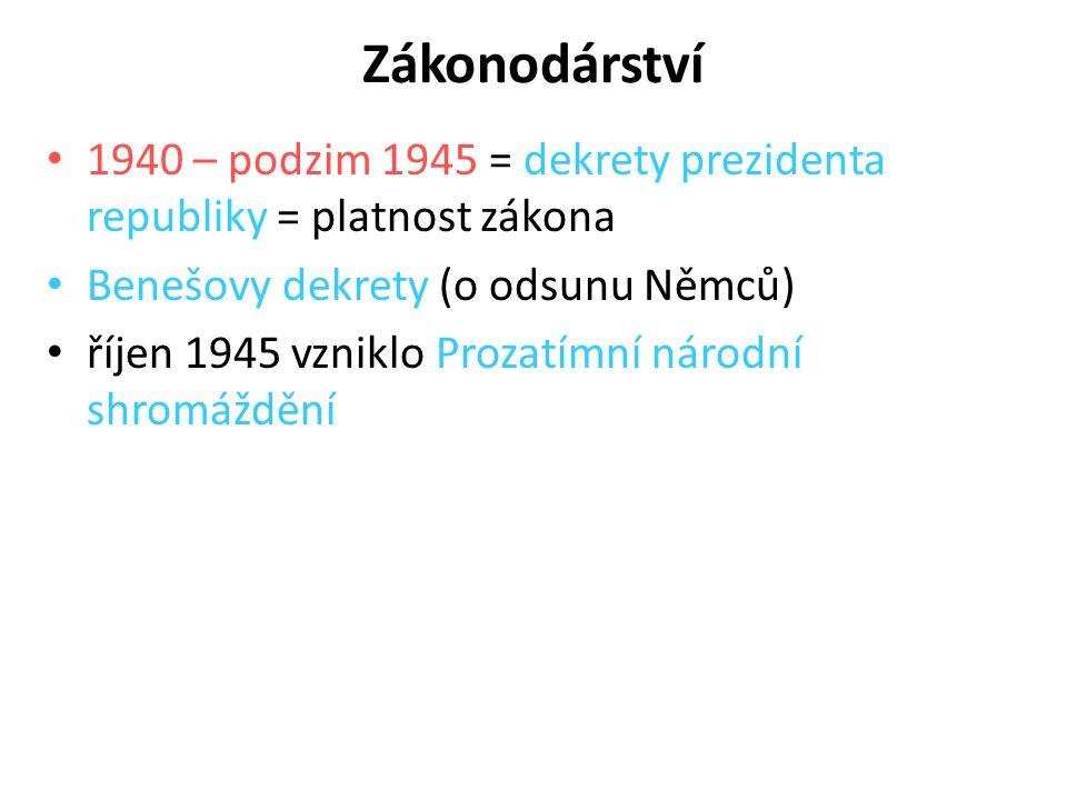 Zákonodárství 1940 – podzim 1945 = dekrety prezidenta republiky = platnost zákona. Benešovy dekrety (o odsunu Němců)