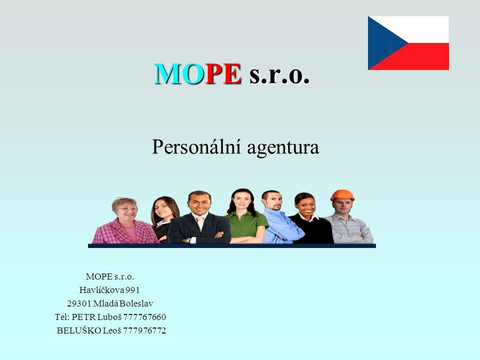 MOPE s.r.o. Personální agentura