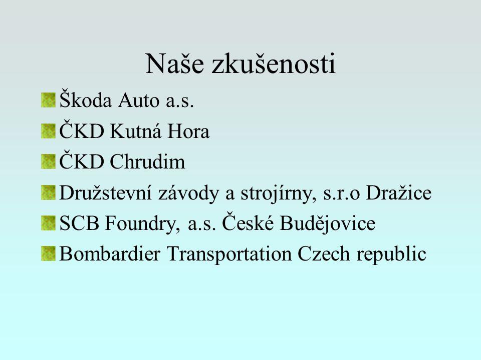 Naše zkušenosti Škoda Auto a.s. ČKD Kutná Hora ČKD Chrudim