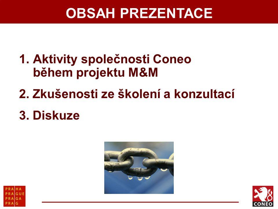 OBSAH PREZENTACE Aktivity společnosti Coneo během projektu M&M