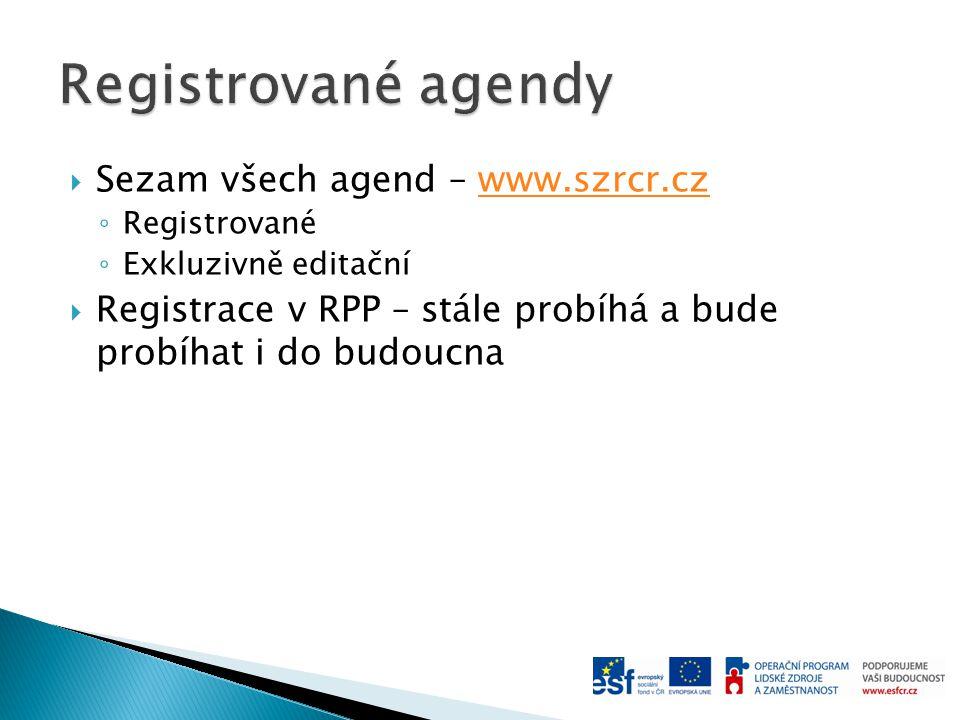 Registrované agendy Sezam všech agend – www.szrcr.cz