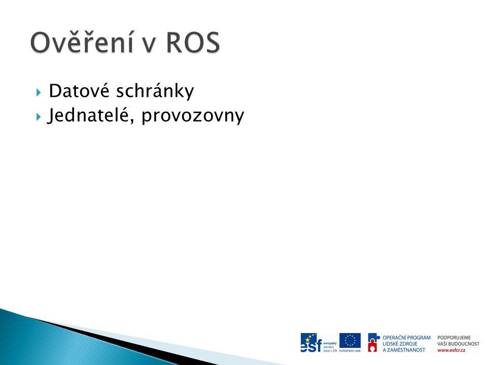 Ověření v ROS Datové schránky Jednatelé, provozovny