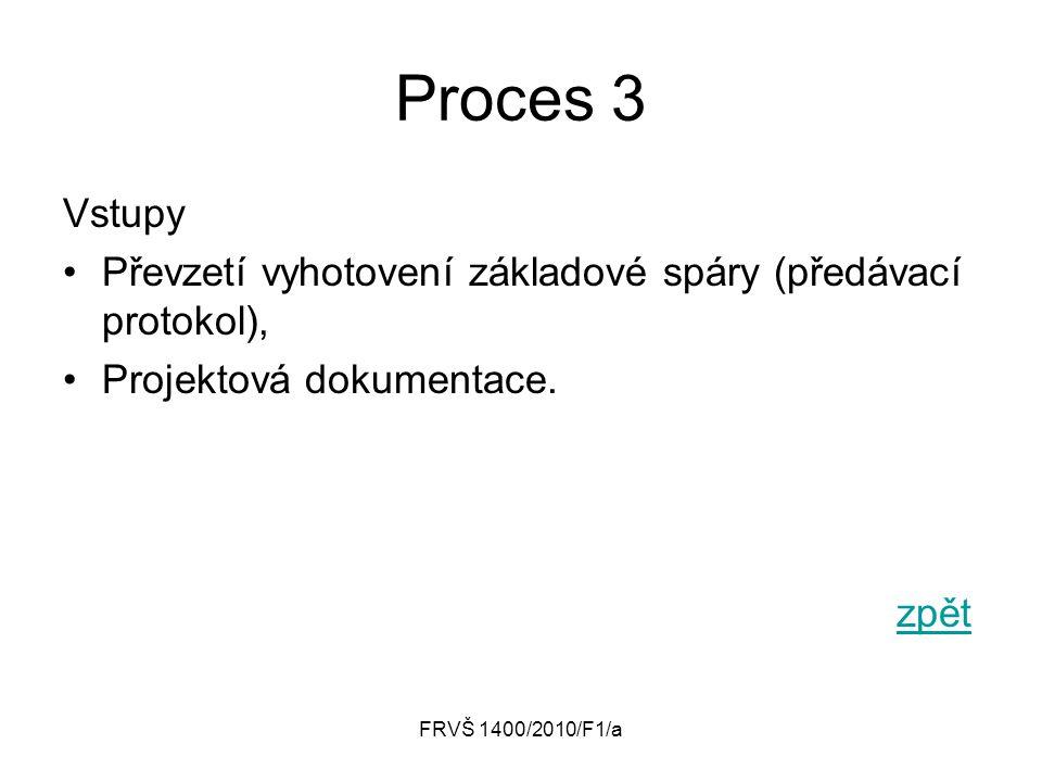 Proces 3 Vstupy. Převzetí vyhotovení základové spáry (předávací protokol), Projektová dokumentace.