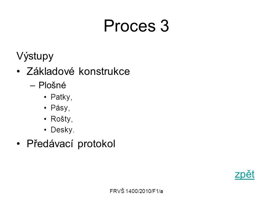 Proces 3 Výstupy Základové konstrukce Předávací protokol zpět Plošné