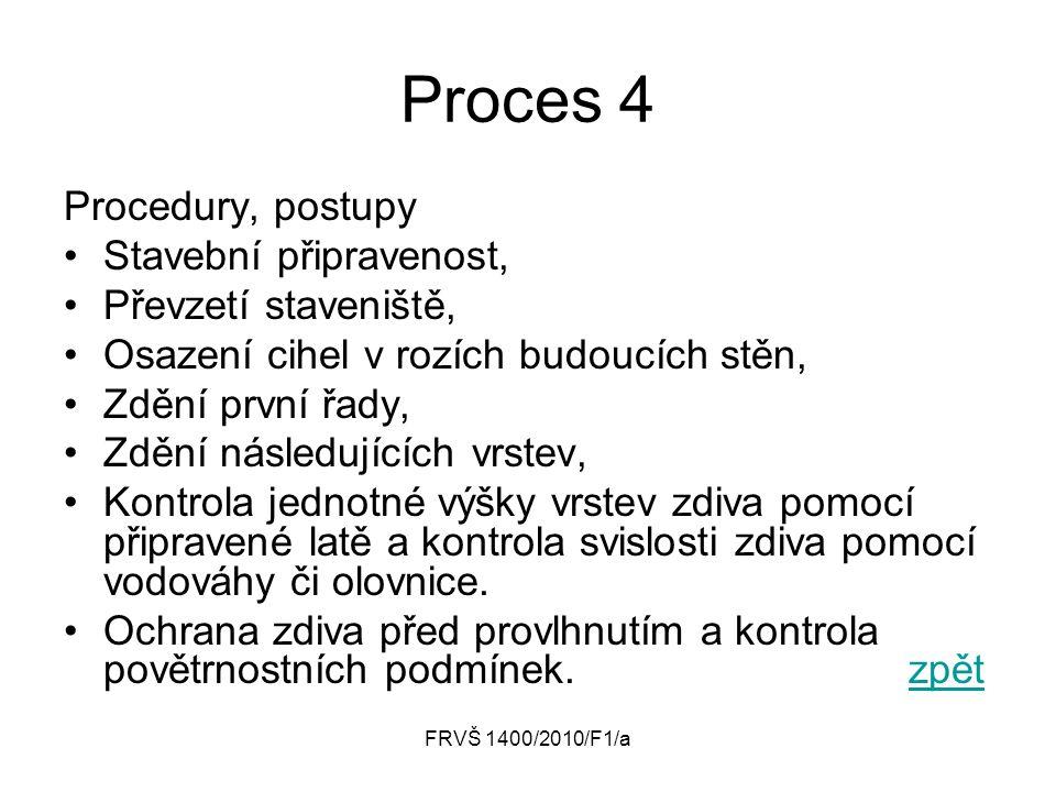 Proces 4 Procedury, postupy Stavební připravenost,