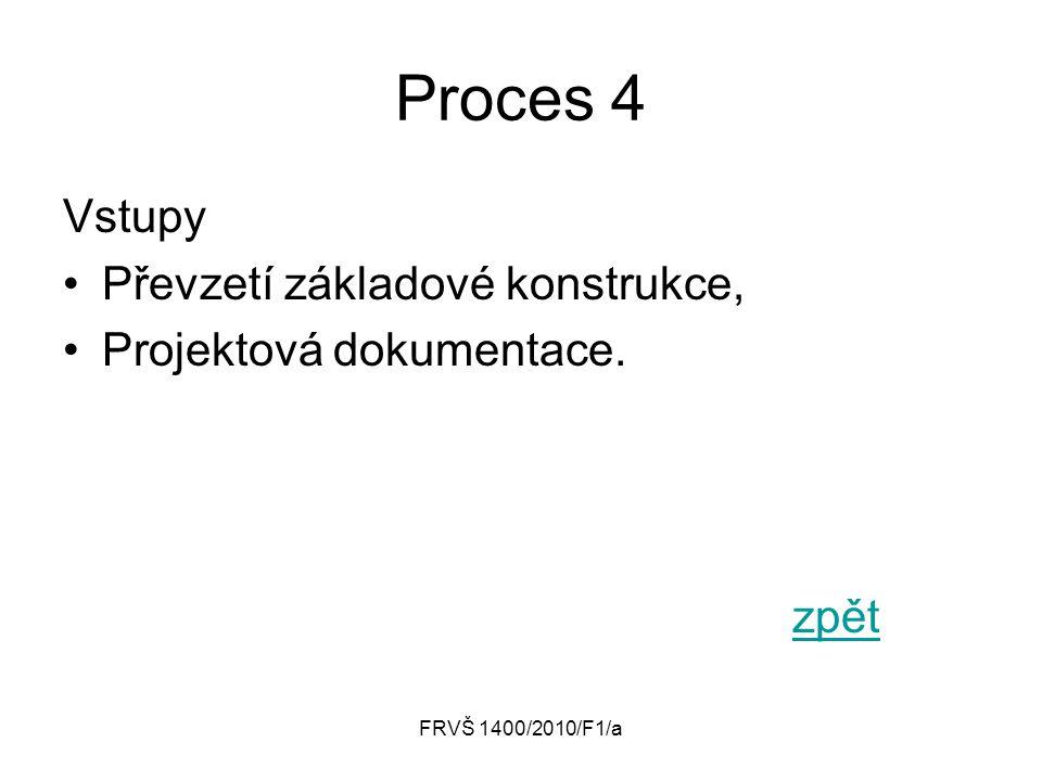 Proces 4 Vstupy Převzetí základové konstrukce, Projektová dokumentace.