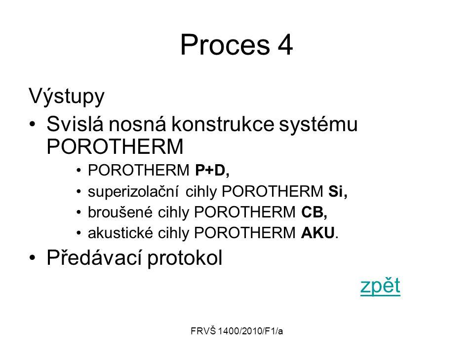 Proces 4 Výstupy Svislá nosná konstrukce systému POROTHERM