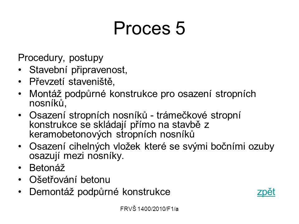 Proces 5 Procedury, postupy Stavební připravenost,