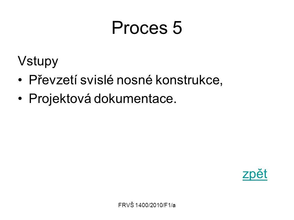 Proces 5 Vstupy Převzetí svislé nosné konstrukce,