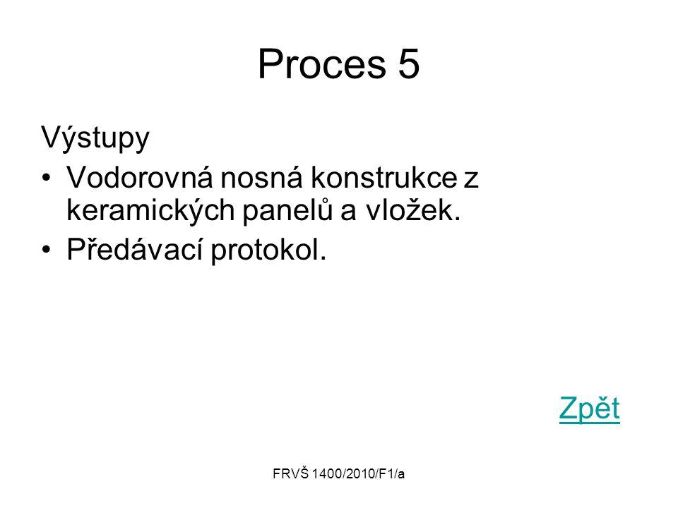 Proces 5 Výstupy. Vodorovná nosná konstrukce z keramických panelů a vložek. Předávací protokol. Zpět.