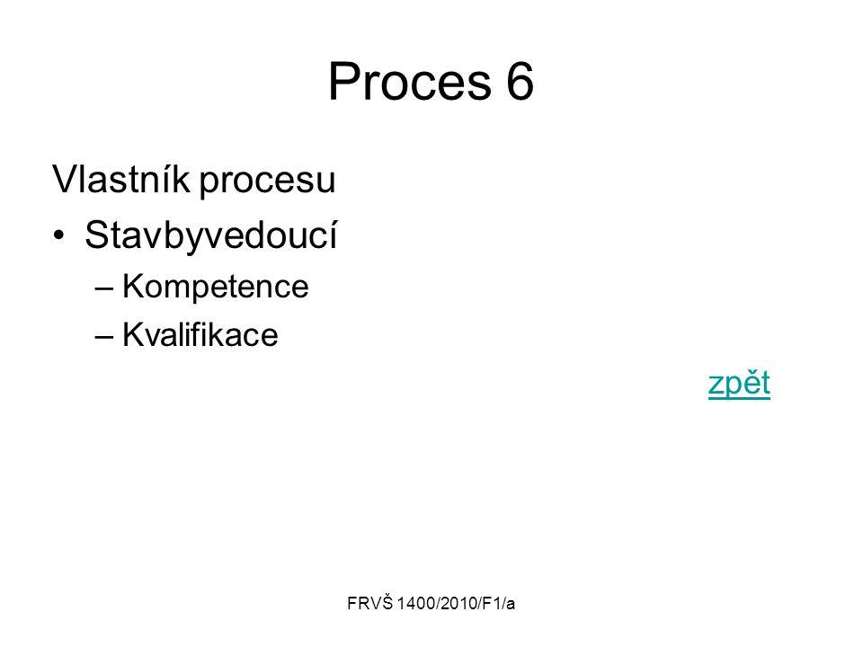 Proces 6 Vlastník procesu Stavbyvedoucí Kompetence Kvalifikace zpět