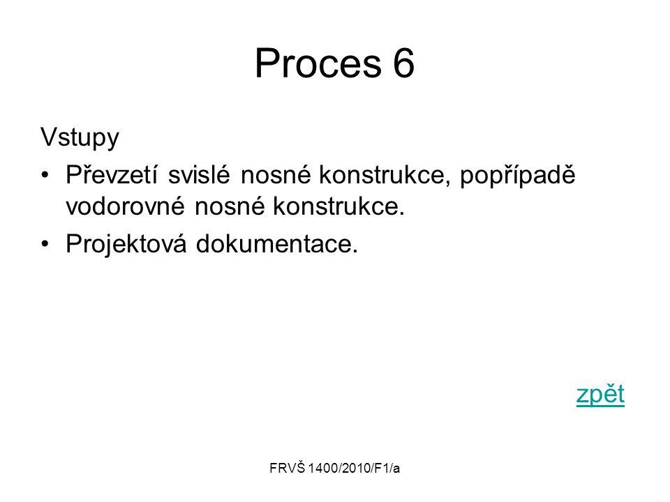Proces 6 Vstupy. Převzetí svislé nosné konstrukce, popřípadě vodorovné nosné konstrukce. Projektová dokumentace.