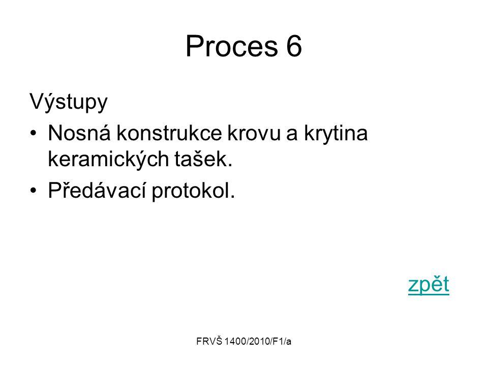 Proces 6 Výstupy Nosná konstrukce krovu a krytina keramických tašek.