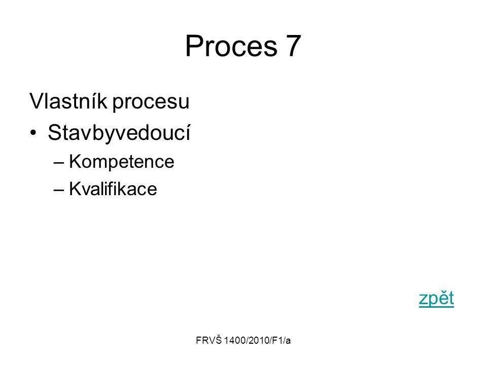 Proces 7 Vlastník procesu Stavbyvedoucí Kompetence Kvalifikace zpět