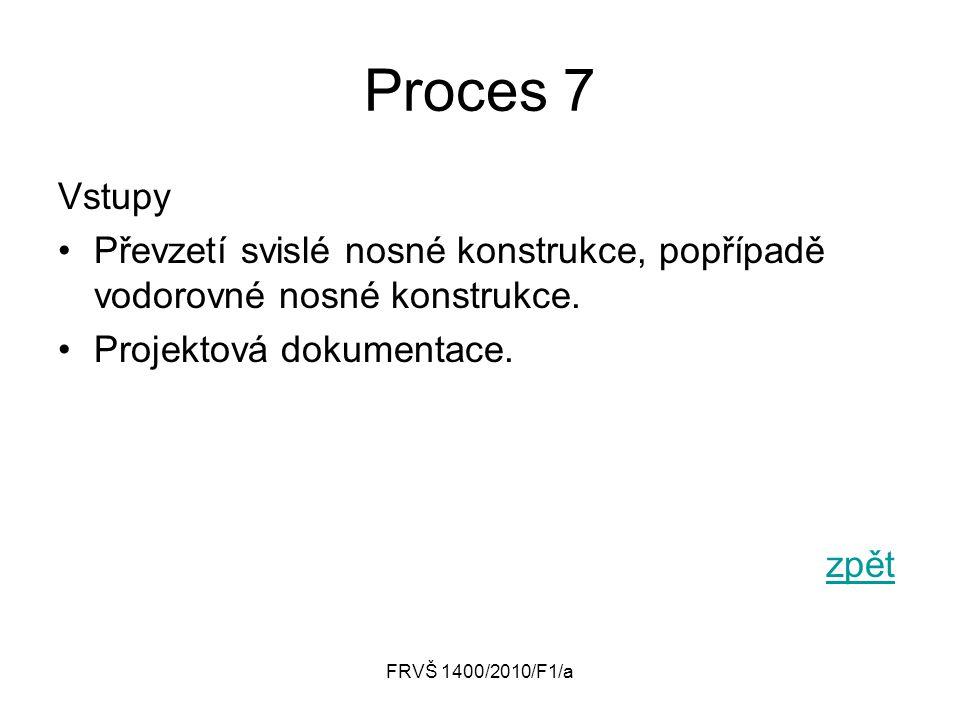 Proces 7 Vstupy. Převzetí svislé nosné konstrukce, popřípadě vodorovné nosné konstrukce. Projektová dokumentace.