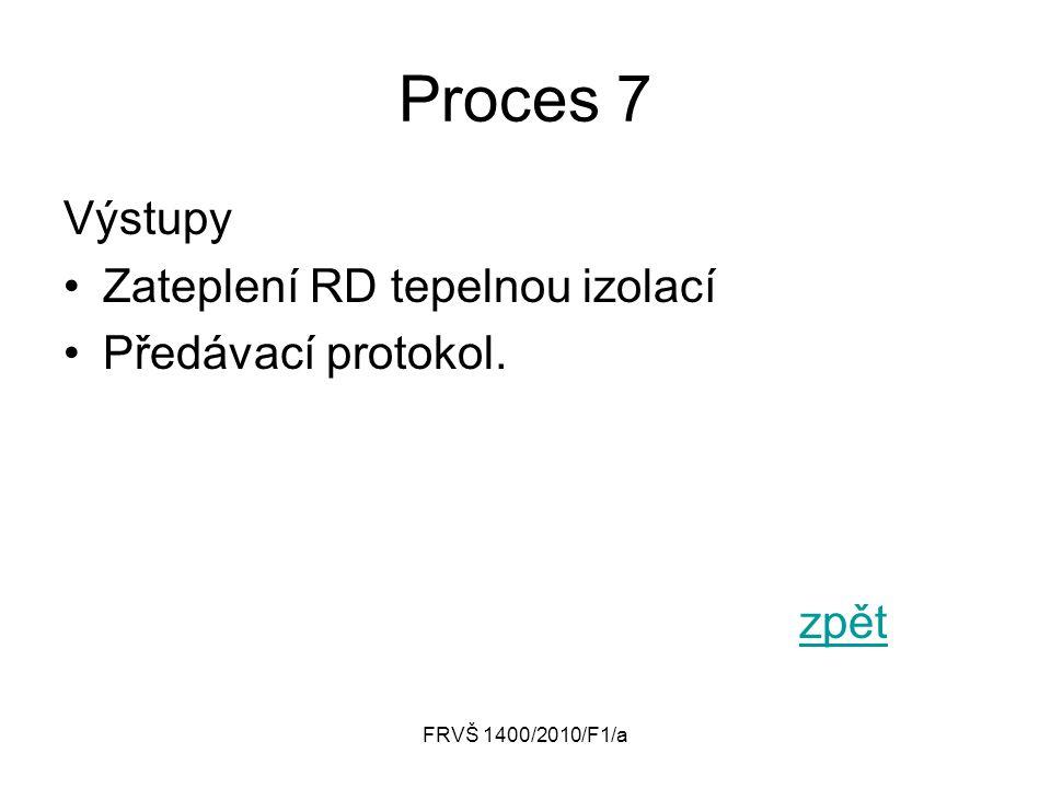 Proces 7 Výstupy Zateplení RD tepelnou izolací Předávací protokol.