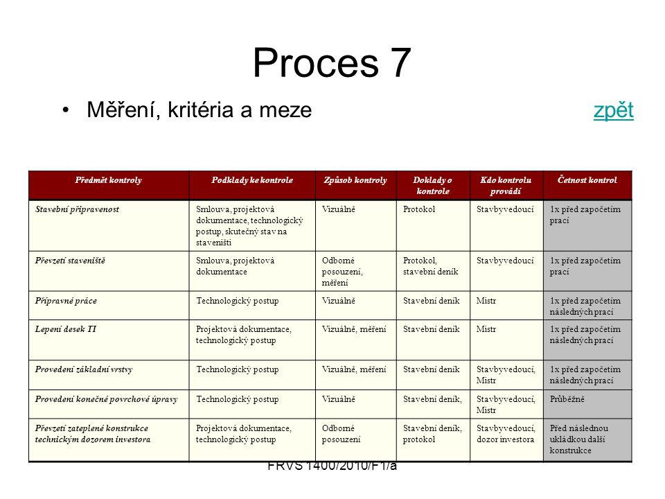 Proces 7 Měření, kritéria a meze zpět FRVŠ 1400/2010/F1/a