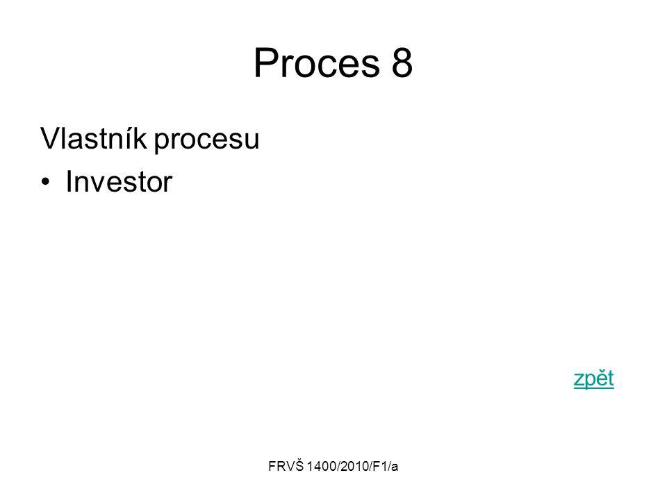 Proces 8 Vlastník procesu Investor zpět FRVŠ 1400/2010/F1/a