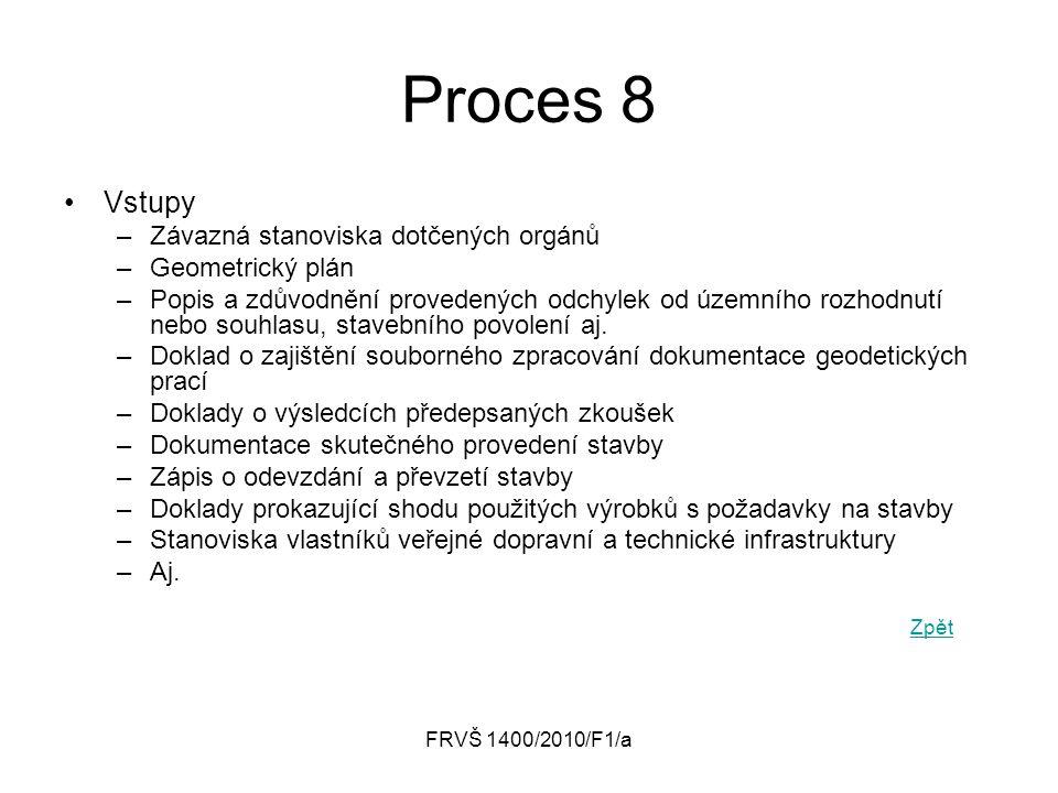 Proces 8 Vstupy Závazná stanoviska dotčených orgánů Geometrický plán