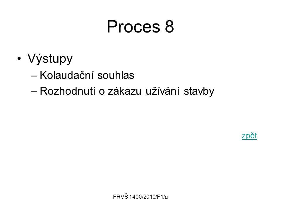 Proces 8 Výstupy Kolaudační souhlas Rozhodnutí o zákazu užívání stavby