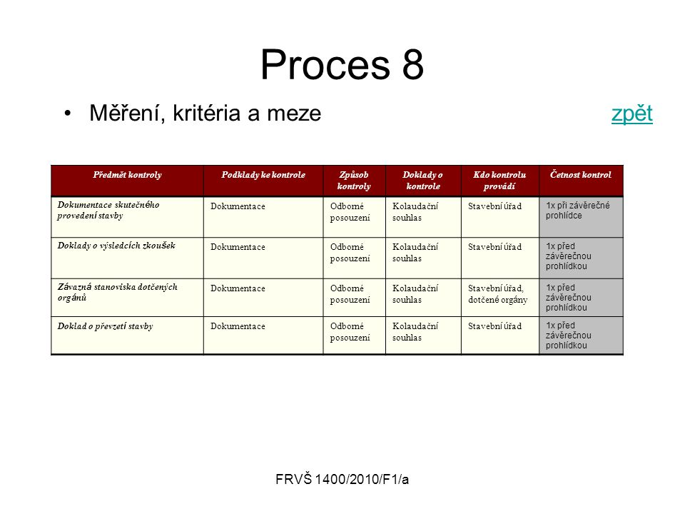 Proces 8 Měření, kritéria a meze zpět FRVŠ 1400/2010/F1/a