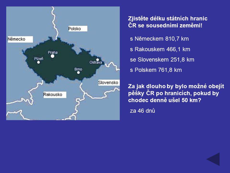 Zjistěte délku státních hranic ČR se sousedními zeměmi!