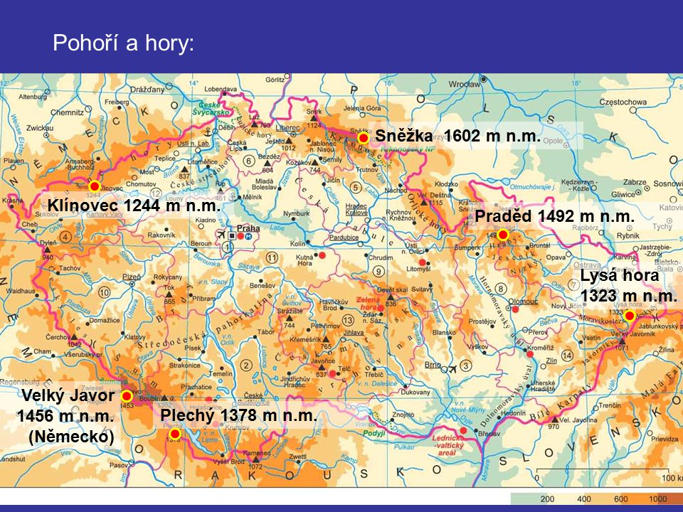 Pohoří a hory: Sněžka 1602 m n.m. Klínovec 1244 m n.m.
