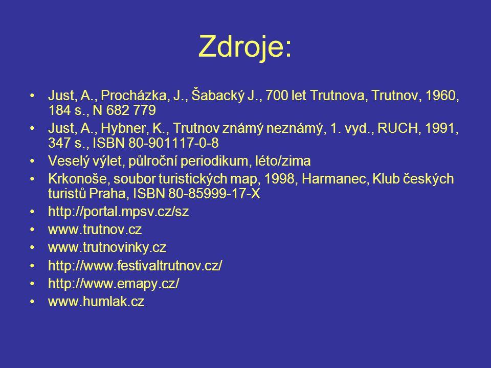 Zdroje: Just, A., Procházka, J., Šabacký J., 700 let Trutnova, Trutnov, 1960, 184 s., N 682 779.