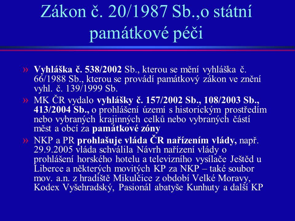 Zákon č. 20/1987 Sb.,o státní památkové péči