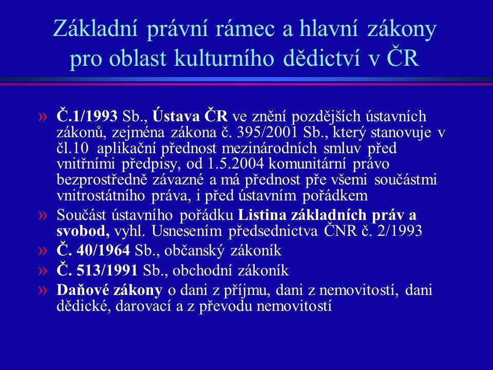 Základní právní rámec a hlavní zákony pro oblast kulturního dědictví v ČR