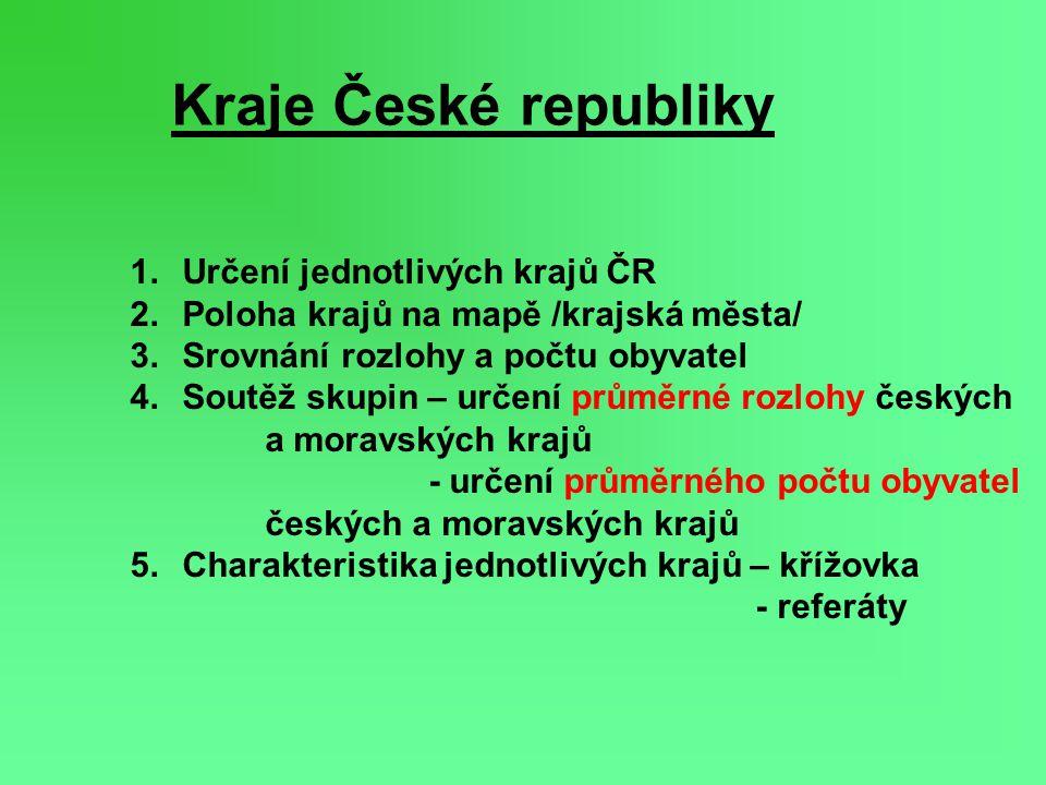 Kraje České republiky Určení jednotlivých krajů ČR
