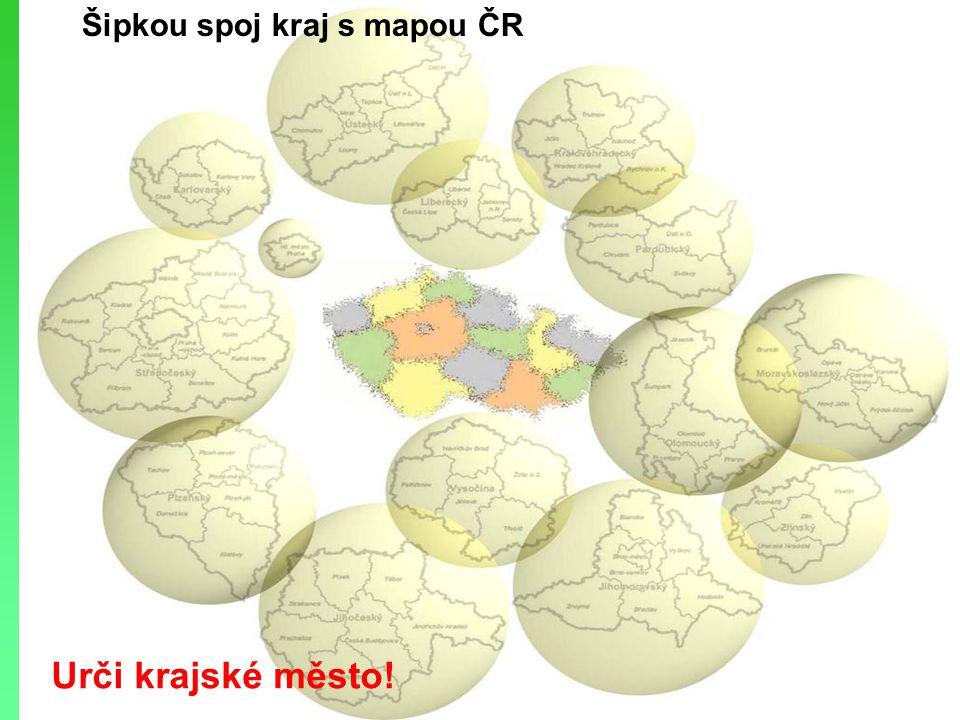 Šipkou spoj kraj s mapou ČR