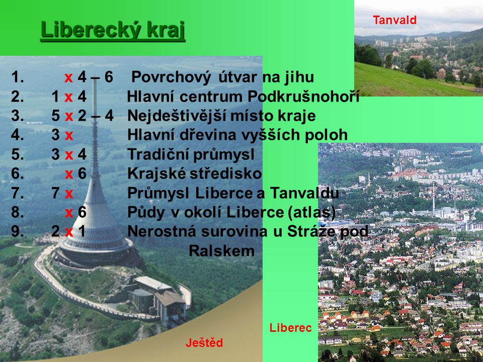 Liberecký kraj 1. x 4 – 6 Povrchový útvar na jihu
